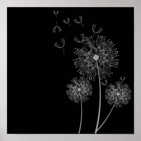 Bedwelming De bloem zwart-wit art. van de paardebloem poster   Zazzle.nl &NW82