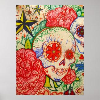 de bloemdag van de suikerschedel van het dode poster