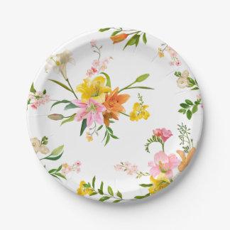 De bloemen Bloemen van de Lelie - Roze, Oranjegeel Papieren Bordje