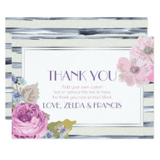 De bloemen en de Strepen danken u 8,9x12,7 Uitnodiging Kaart