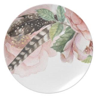 De Bloemen en de Veren van Boho Melamine+bord