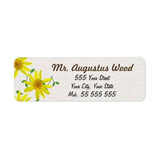De bloemen Gele Bruine Naam van de Bloem op Witte Retouretiket