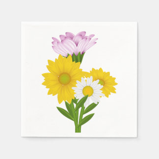 De bloemen Gele Paarse Bloem van de Margriet van Papieren Servetten