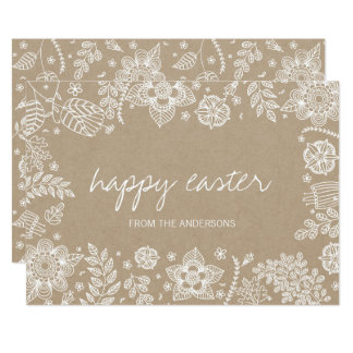 De Bloemen Gelukkige Pasen Kaart van rustiek Kaart