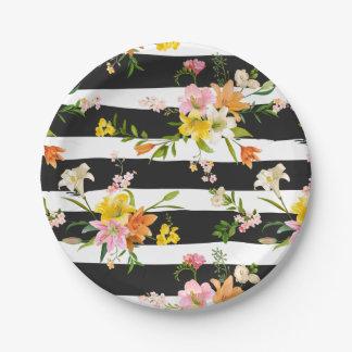 De bloemen Lelie bloeit het Zwart-witte Roze van Papieren Bordje