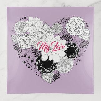 De bloemen Liefde van Valentijn van het Hart Sierschaaltjes