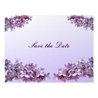 De bloemen Lila Bloemen bewaren de Datum Briefkaart