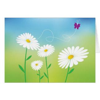 De bloemen Margriet bloeit de Blauwgroene Liefde Kaart