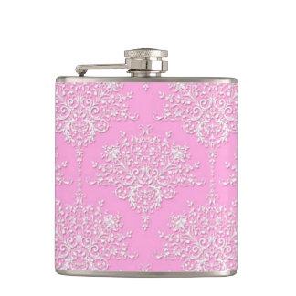 De Bloemen Modieuze Roze Fles van het Damast fancy Heupfles