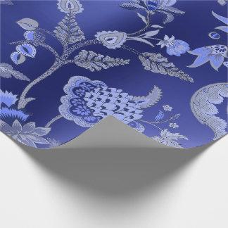De bloemen Oosterse Blauwe Tuin van het Kobalt van Cadeaupapier