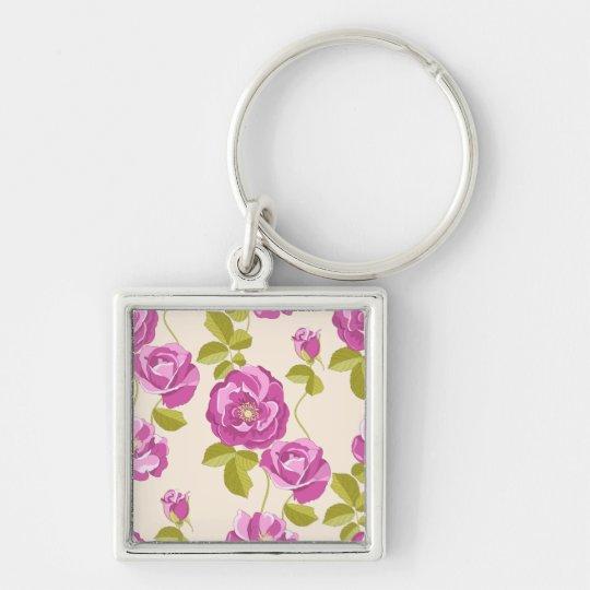 De bloemen Paarse Lavendel nam de Zeer belangrijke Zilverkleurige Vierkante Sleutelhanger