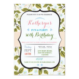De bloemen partij van de Verjaardag van Bladeren 12,7x17,8 Uitnodiging Kaart