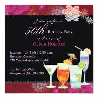 De bloemen Partij van de Verjaardag van Cocktails Kaart