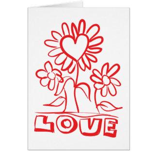 De bloemen Rode Bloemen & de Harten van de Liefde Kaart