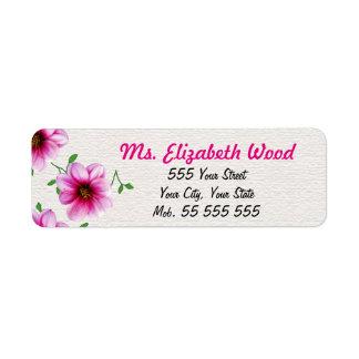 De bloemen Roze Roze Naam van de Bloem op Witte Retouretiket