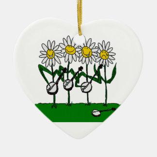 De Bloemen van de banjo Keramisch Hart Ornament