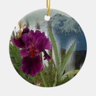 De Bloemen van de berg Rond Keramisch Ornament