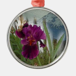 De Bloemen van de berg Zilverkleurig Rond Ornament