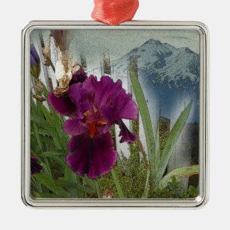 De Bloemen van de berg Zilverkleurig Vierkant Ornament