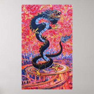 De Bloemen van de draak over het stadsPoster Poster