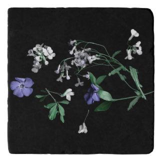 De bloemen van de lente op de zwarte Marmeren Trivet