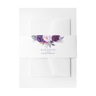De Bloemen van de paarse en Waterverf van de Pruim Uitnodigingen Wikkel