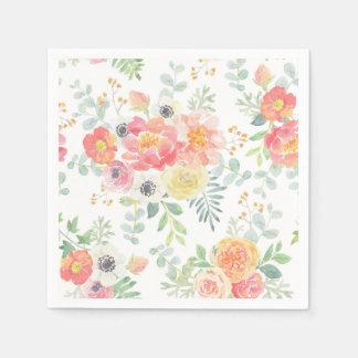 De Bloemen van de pastelkleur Papieren Servetten