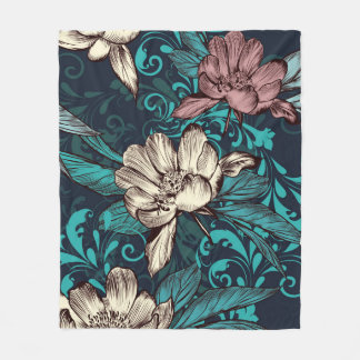 De bloemen van de pioen op blauw. Victoriaans Fleece Deken