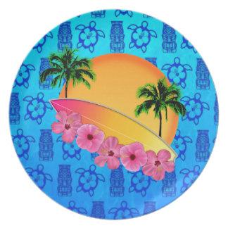 De Bloemen van de surfplank en van de Hibiscus Diner Borden