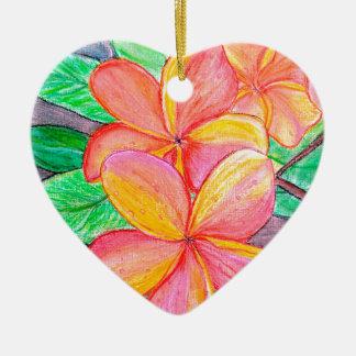 De Bloemen van Frangipani Keramisch Hart Ornament