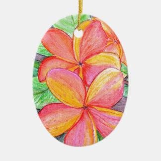 De Bloemen van Frangipani Keramisch Ovaal Ornament