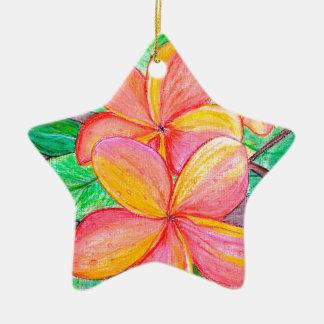 De Bloemen van Frangipani Keramisch Ster Ornament