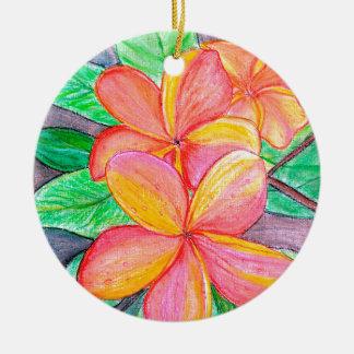 De Bloemen van Frangipani Rond Keramisch Ornament