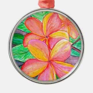 De Bloemen van Frangipani Zilverkleurig Rond Ornament