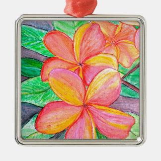 De Bloemen van Frangipani Zilverkleurig Vierkant Ornament