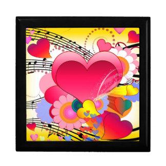 De Bloemen van harten en de Nota's van de Muziek Decoratiedoosje