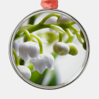 De Bloemen van het lelietje-van-dalen Zilverkleurig Rond Ornament