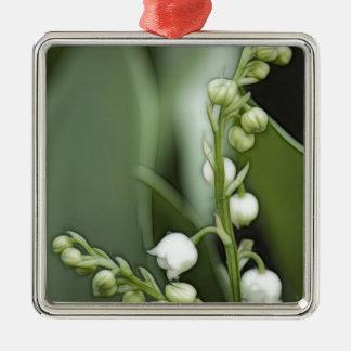 De Bloemen van het lelietje-van-dalen Zilverkleurig Vierkant Ornament