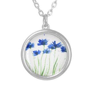 De bloemen van korenbloemen zilver vergulden ketting