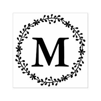 De bloemen Zegel van het Monogram van de Kroon Zelfinktende Stempel