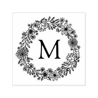 De bloemen Zegel van het Monogram Zelfinktende Stempel