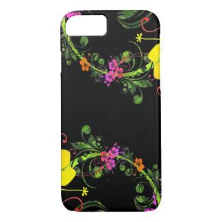 De bloemen Zwarte Telefoon van de Bloem - Taaie iPhone 8/7 Hoesje