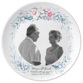 de BloemenBloemen van de 45ste van het Huwelijk Porselein Bord