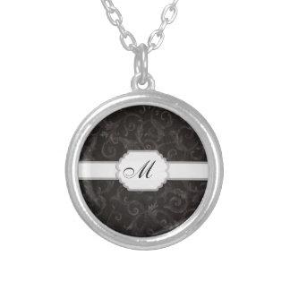 De BloemenDruk van het monogram Zilver Vergulden Ketting