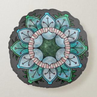 De bloemrijke Ijzige Blauw van Mandala van de Rond Kussen