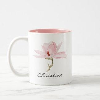 De Bloesem van de Magnolia van de waterverf met Uw Tweekleurige Koffiemok