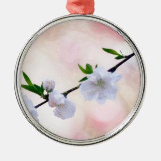De Bloesem van de perzik Zilverkleurig Rond Ornament