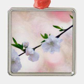 De Bloesem van de perzik Zilverkleurig Vierkant Ornament