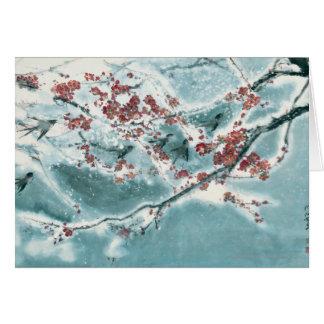 De Bloesem van de pruim in Sneeuw Kaart