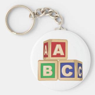 De Blokken van ABC Basic Ronde Button Sleutelhanger